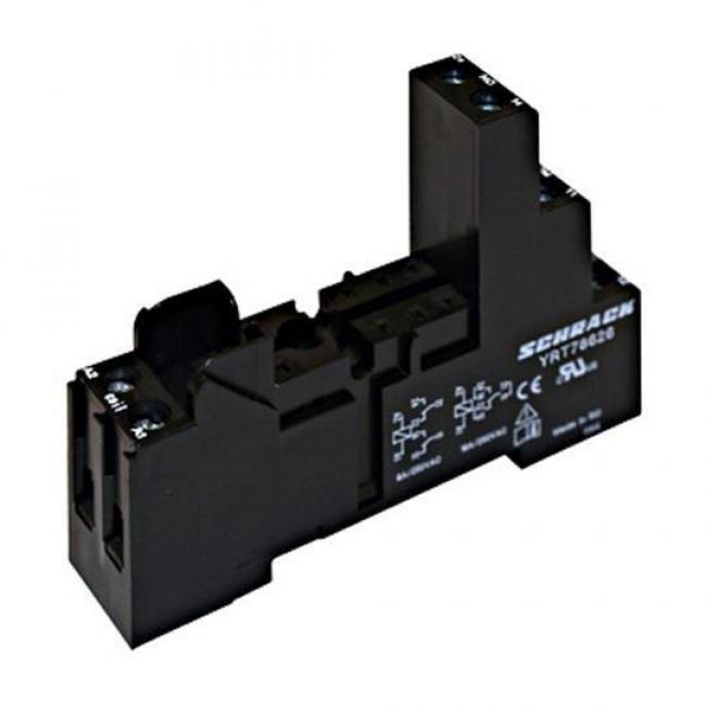 YRT78626--, Socket for RT4 relays, Screw type terminals, 8 pin, 2 C/O